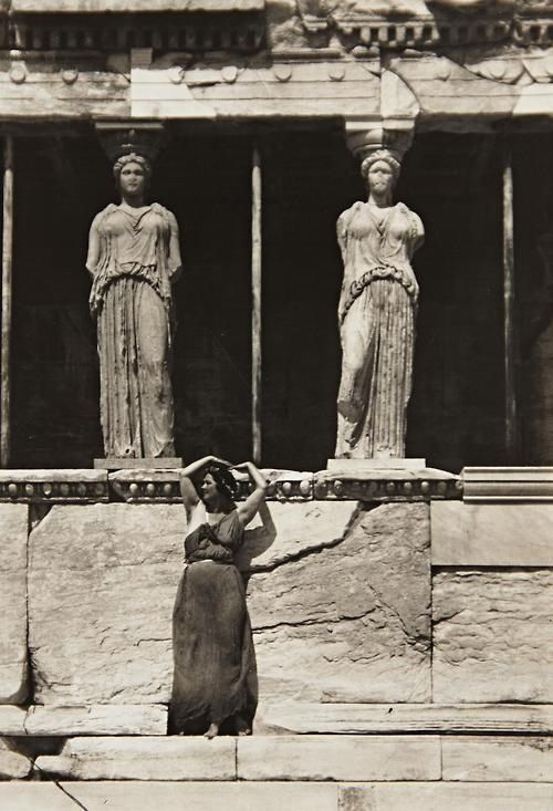 Isadora Duncan at the Acropolis, Athens, circa 1920.