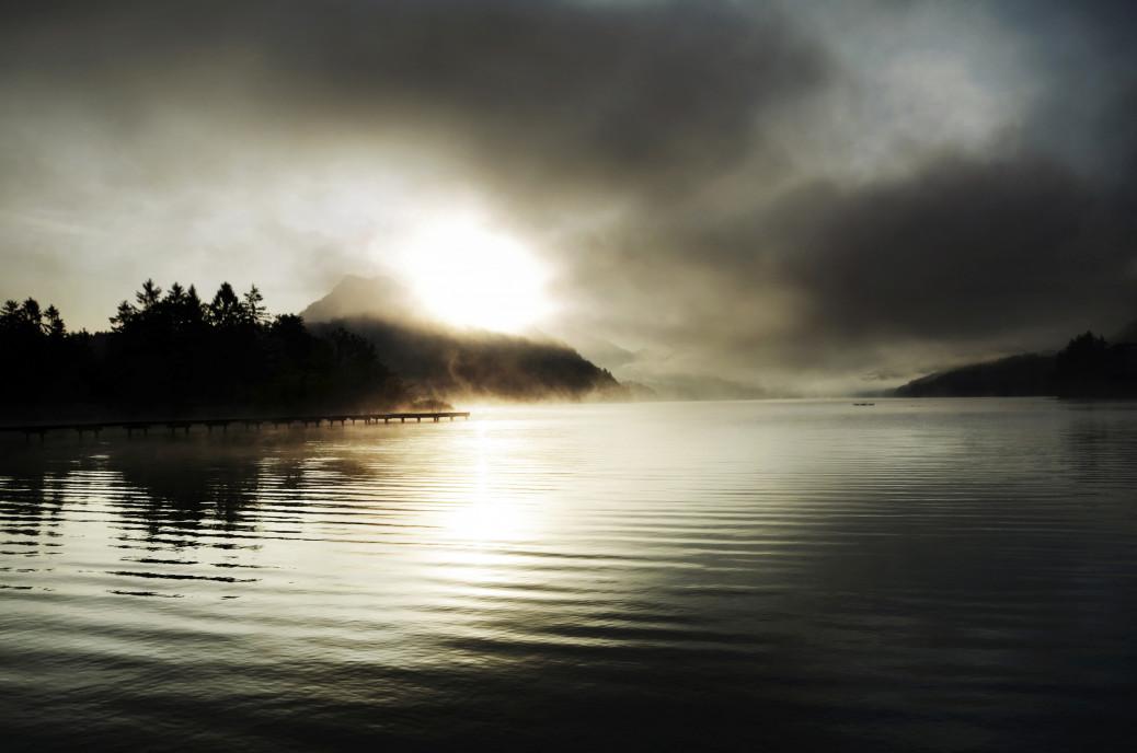 fog-pier-lake-mountain-sun-sunset-trees-spruce
