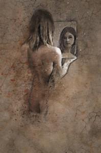 Dibujo mujer espejo